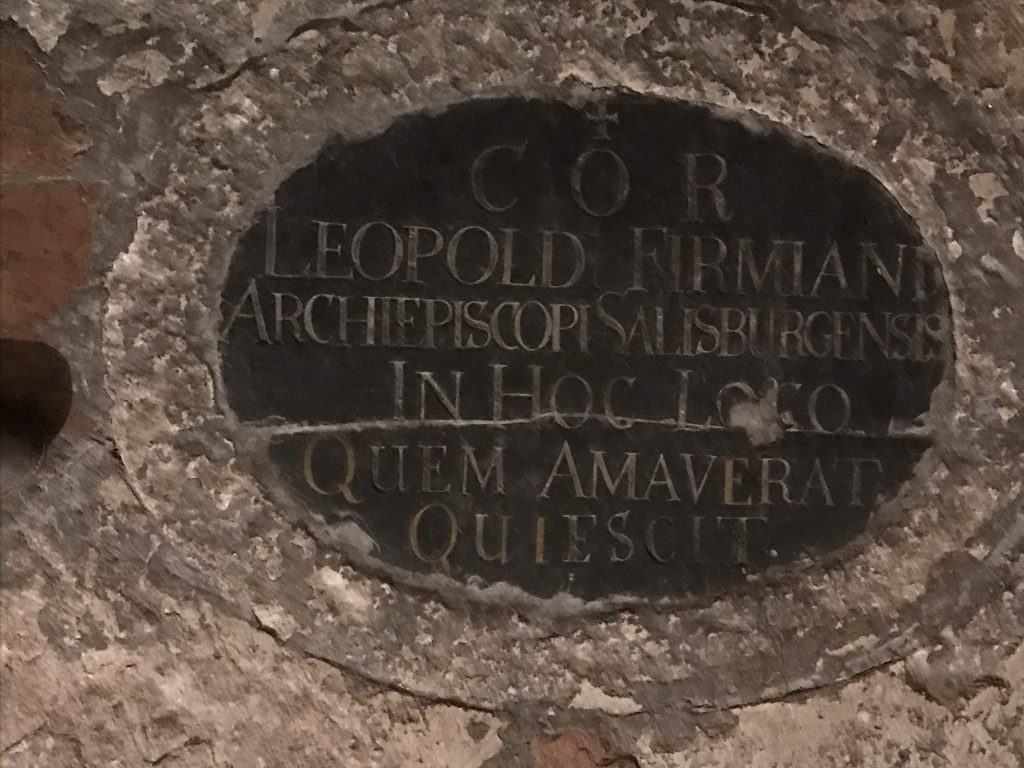This plaque marks the spot where the bishop's heart was buried in the Schloss' chapel following his death.