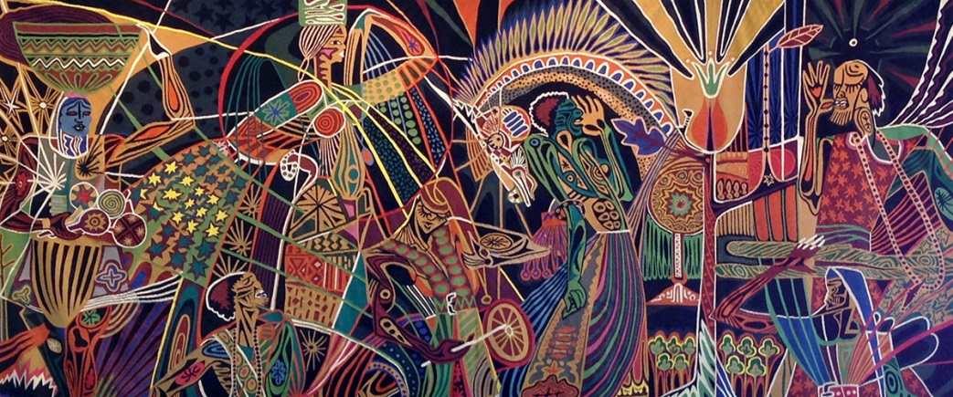 Tapestry by Papa Ibra Tall depicting the Maagala Tuubaa (pilgrimage to Touba). The pilgrimage is an annual gathering to celebrate the return of the religious leader of the Fraternity (Confrerie) of the Maurides and brings together thousands of Muslims. Gift of Senegal to the United Nations.